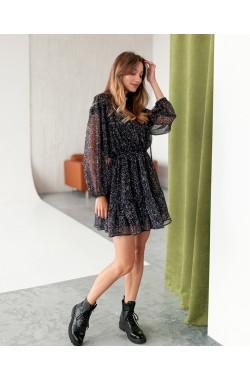Платье Krasa 240-21 черный в цветные брызги