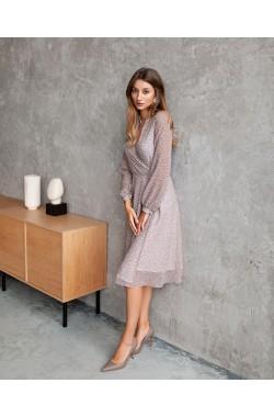 Платье Krasa 247-21 шифон беж в горох