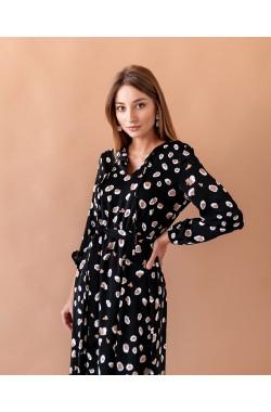 Платье Krasa 275-21 черный в пятнышки